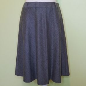 Talbots wool A line flare gray skirt size 6
